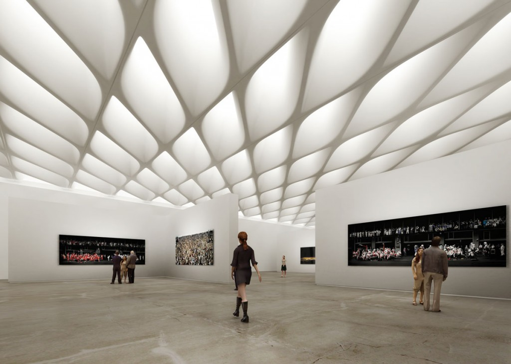 interior gallery view of The Broad, image via Diller Scofidio + Renfro