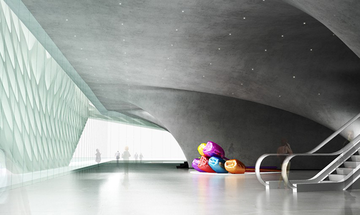 interior lobby view of The Broad, image via Diller Scofidio + Renfro
