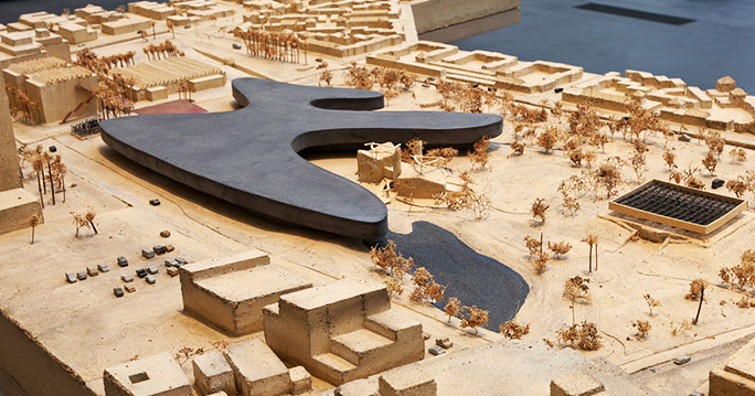 aerial view of the campus model by Peter Zumthor