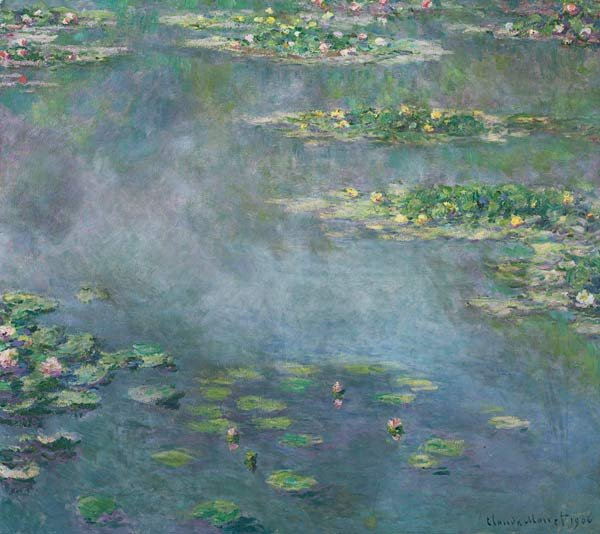 Claude Monet, Nymphéas (Water Lilies), 1906, oil on canvas, 34 3/4 x 39 3/8 inches. Image via Sotheby's.