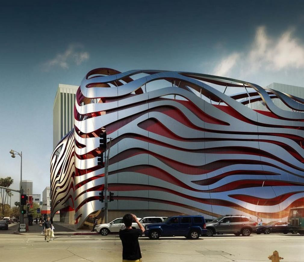 exterior view of the new Petersen Automotive Museum