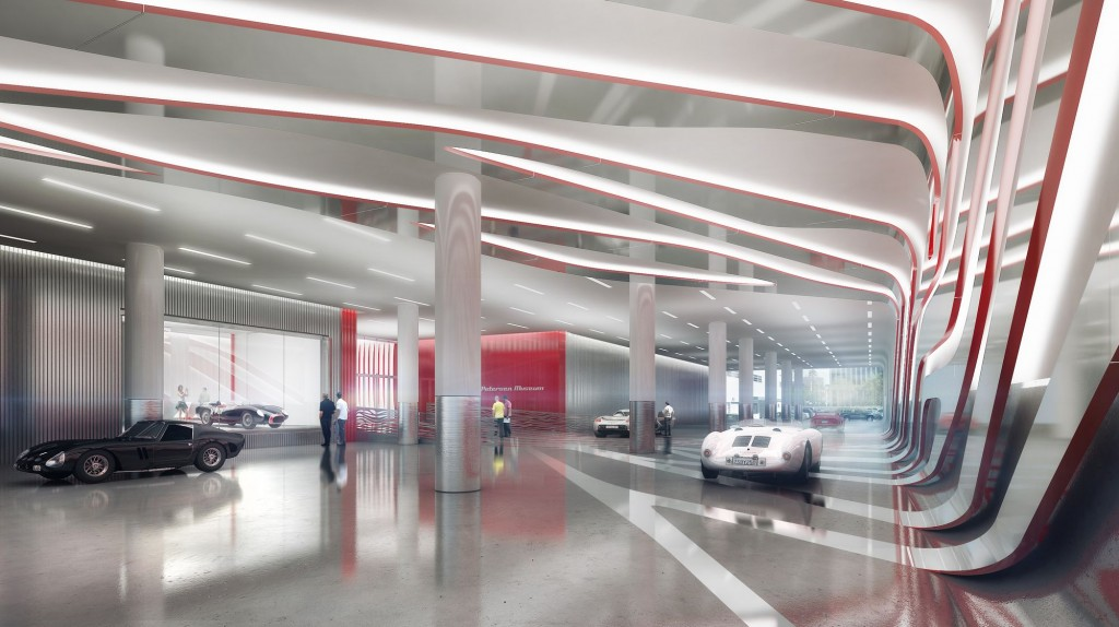 interior view of the new Petersen Automotive Museum