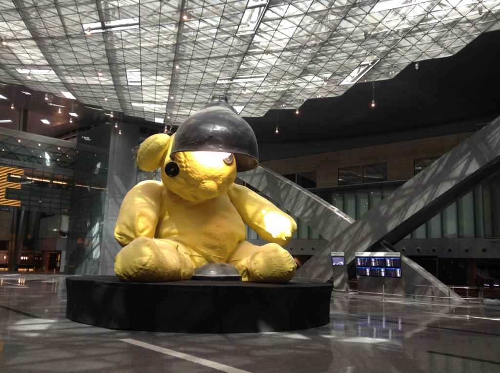 Urs Fischer's Lamp Bear is installed in Qatar's new $17 billion Hamad International Airport, Image via Qatar Museums Authority