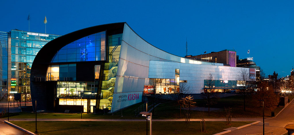 Kiasma in Helsinki, designed by Steven Holl; photograph by Pirje Mykkänen via Finnish National Gallery