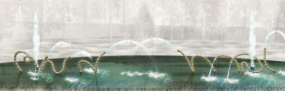 illustration of Jean-Michel Othoniel's fountain sculptures of the Water Theater grove, image © Jean-Michel Othoniel