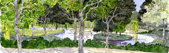 illustration of the Water Theater grove, image via Château de Versailles, © Fabrice Moireau