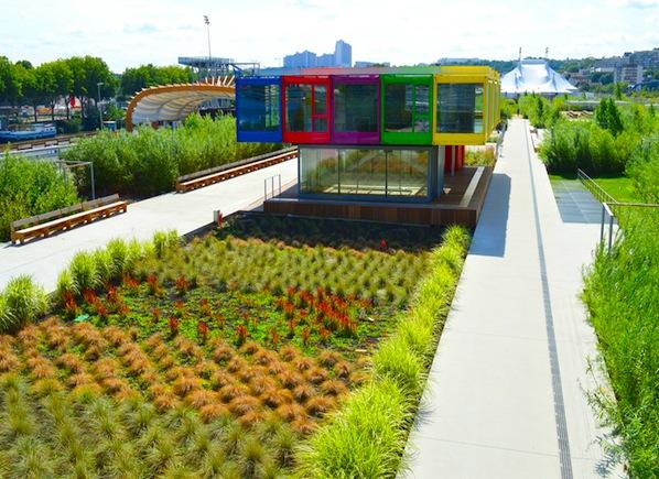 Pavillon sur l'île Seguin and Jardin de l'Île Seguin, image via Office de Tourisme de Boulogne-Billancourt