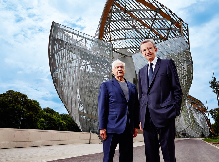 Frank Gehry and Bernard Arnault outside the Foundation Louis Vuitton in Paris
