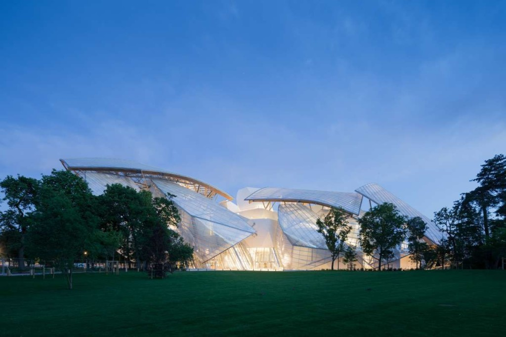 The Fondation Louis Vuitton, in the Bois de Boulogne, Paris; photo courtesy of Fondation Louis Vuitton
