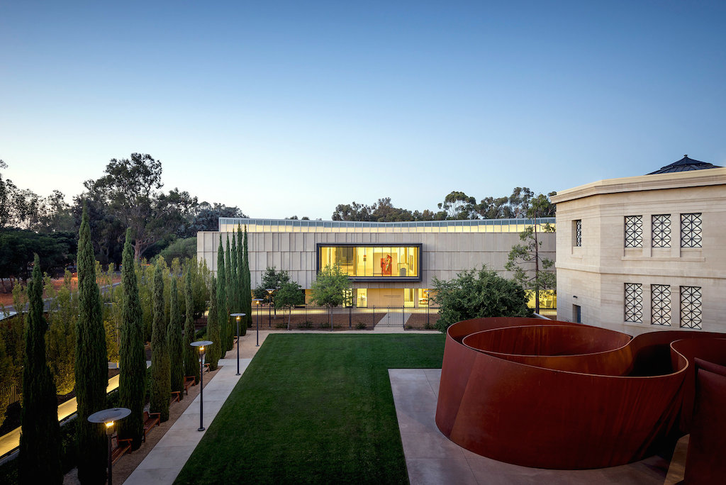 "at center, the new Anderson Collection at Stanford University; at right, the Cantor Arts Center and Richard Serra's ""Sequence"" installation; photo by Tim Griffith for Ennead Architects"