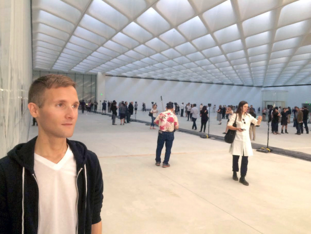 Attractive and fashionable visitors photograph themselves at The Broad museum on February 15, 2015; image © codylee.co