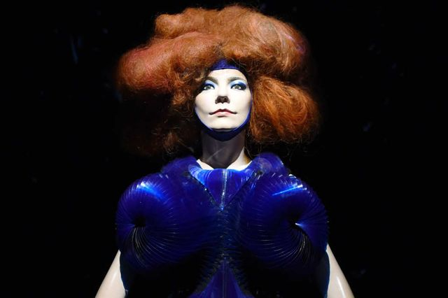 Björk, Biophilia dress, 2011; dress by Iris van Herpen; installation view at MoMA, 2015; photo by Timothy A. Clary / Getty Images