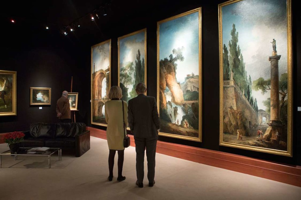 Visitors view works by Hubert Robert at Didier Aaron & Cie gallery at TEFAF 2015; photo by Loraine Bodewes, courtesy of TEFAF