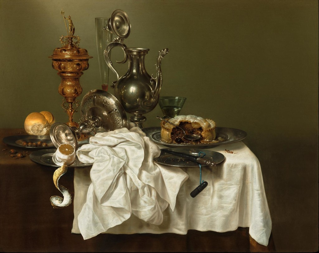 Willem Claesz Heda, Still life with a blackberry pie on a pewter plate, 1644; oil on panel, 31 7/8 x 39 7/8 inches; image courtesy of French & Company
