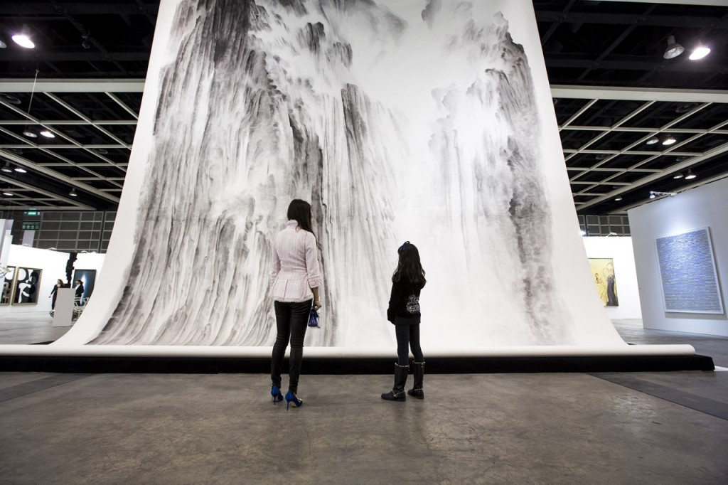 Xu Longsen, Beholding the Mountain with Awe No.1, 2008-2009; Ink on paper, 1030 x 848 cm; installation view at Hanart TZ Gallery at Art Basel Hong Kong 2015; image © Art Basel
