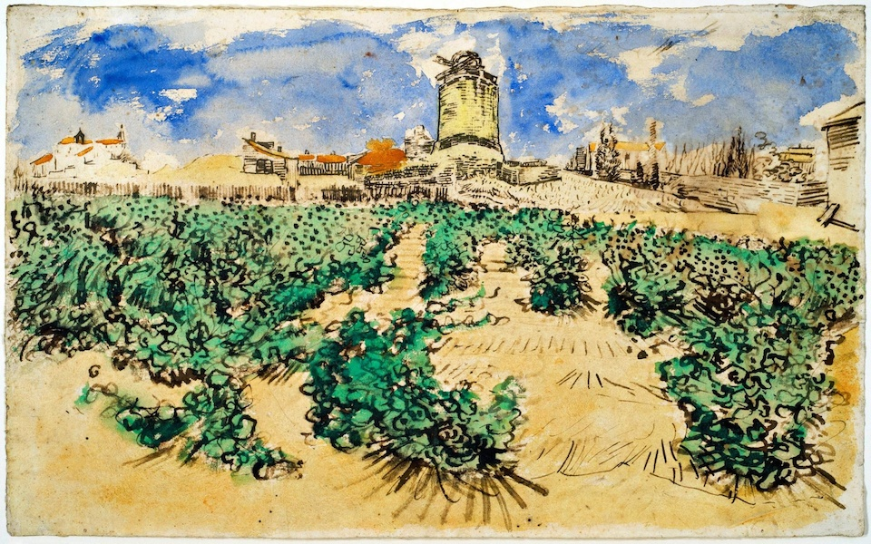 Vincent van Gogh, Le Moulin d'Alphonse Daudet à Fontvieille, 1888; graphite, reed pen, ink, and watercolor on paper; 30.2 x 49 cm; image via The Guardian
