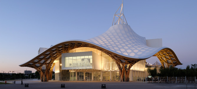 Centre Pompidou-Metz; designed by Shigeru Ban Architects Europe and Jean de Gastines Architectes; image via Indal France
