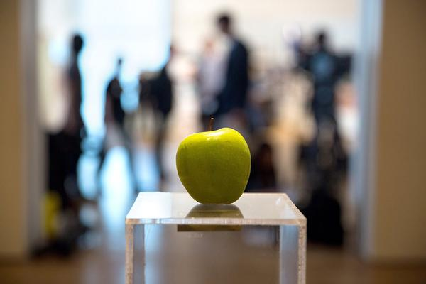 Yoko Ono, Apple, 1966; 2015 installation view at MoMA; photo by Ruth Fremson for The New York Times