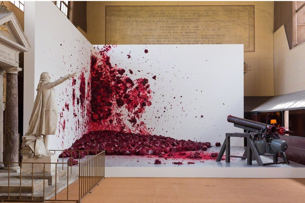 Anish Kapoor, Shooting into the Corner, 2008-2009; mixed media; installation view in the Jeu de Paume at the Château de Versailles, 2015; photo courtesy of Kapoor Studio, © Tadzio