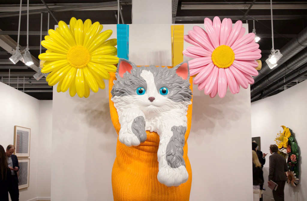 Jeff Koons, Cat on a Clothesline (Orange), 1994-2001; polyethylene, 123 × 110 × 50 inches, 1 of 5 unique versions; installation view at Gagosian Gallery, Art Basel in Basel 2015; photo by Alec Bastian for Artsy