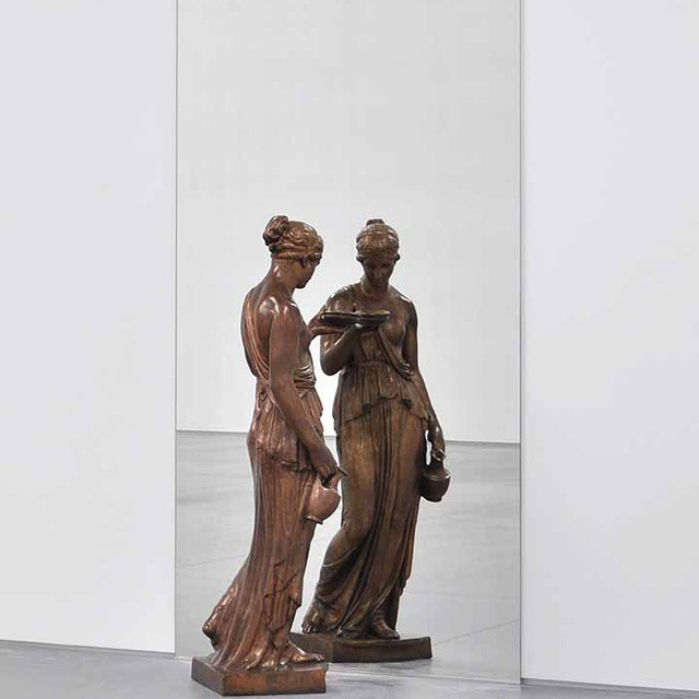 Michelangelo Pistoletto, Dono de Mercurio allo Specchio, 1971-92; bronze statue and mirror, edition of 4; image courtesy of Fergus McCaffrey