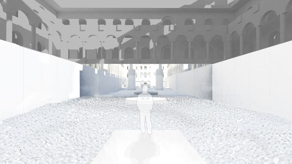 the BEACH at the National Building Museum; installation rendering by Snarkitecture, courtesy of the National Building Museum