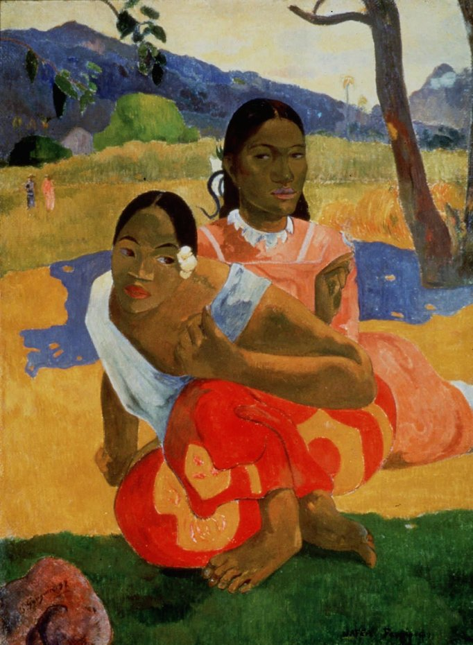 Paul Gauguin, Nafea Faa Ipoipo (When Will You Marry?), 1892; oil on canvas, 40 x 30 inches; image courtesy of Artothek / Associated Press