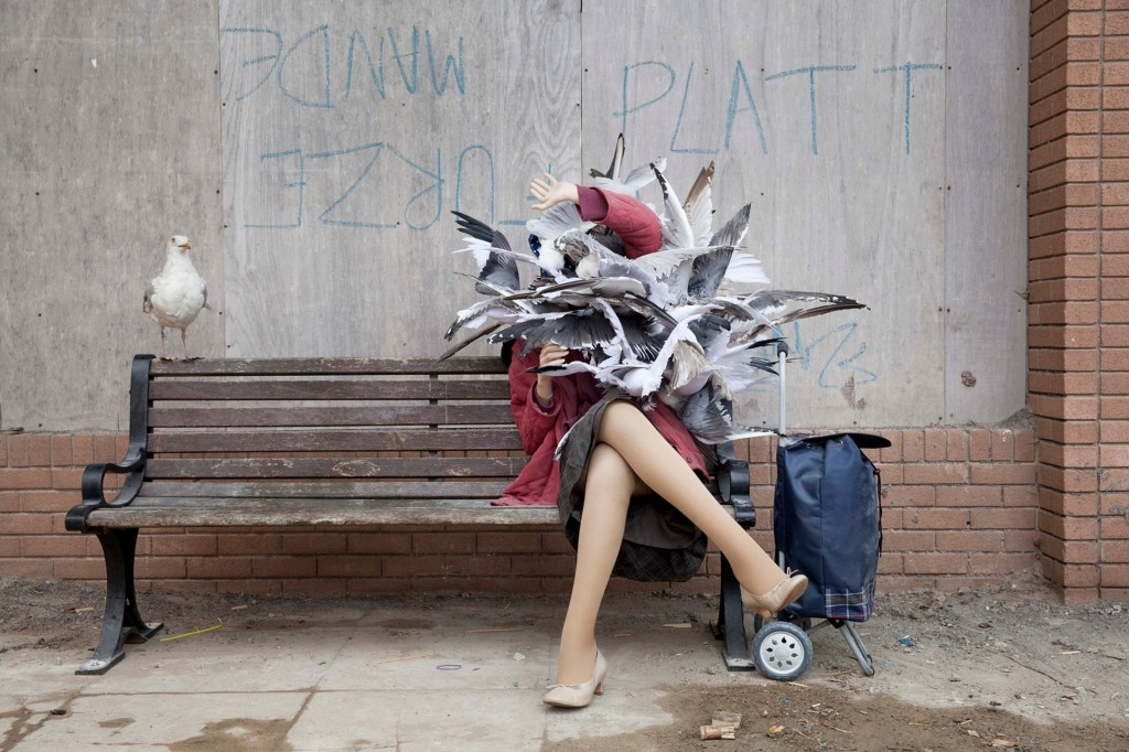 A woman is attacked by seagulls. Installation view of a work by Banksy, Dismaland, 2015; photo by Alicia Canter for the Guardian
