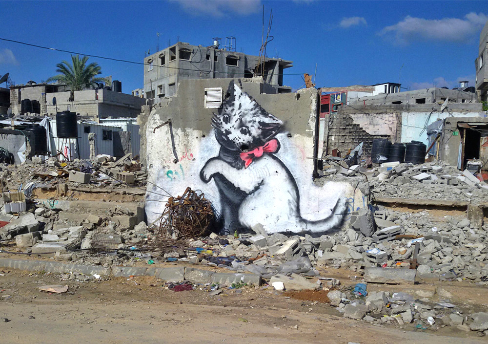 A work by Banksy in Gaza; photo via banksy.co.uk