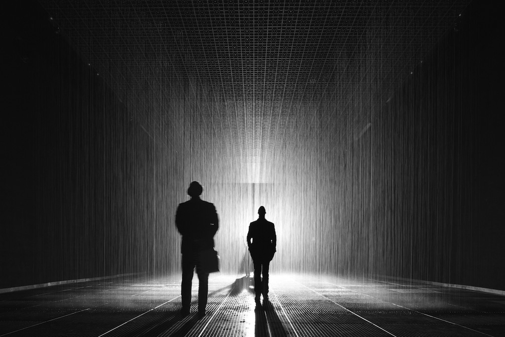 Random International's Rain Room, installation view at MoMA, 2013; photo by Random International, courtesy of LA Times