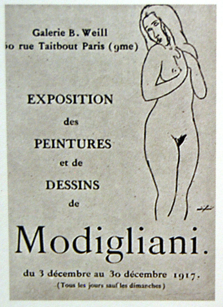 Leaflet for Amedeo Modigliani's only solo exhibition, at Galerie Berthe Weill in Paris in 1917; image © Archives Berthe Weill