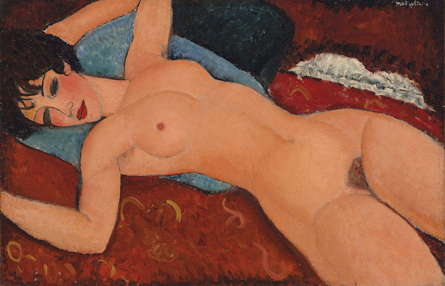 Amedeo Modigliani, Nu Couché, 1917-18; oil on canvas, 23 5/8 x 36 1/4 inches; image via Christie's Images LTD
