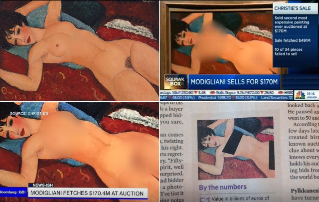 Amedeo Modigliani's Nu Couché, censored by American media; image by Jean-Noël Lafargue (jean_no) via Twitter