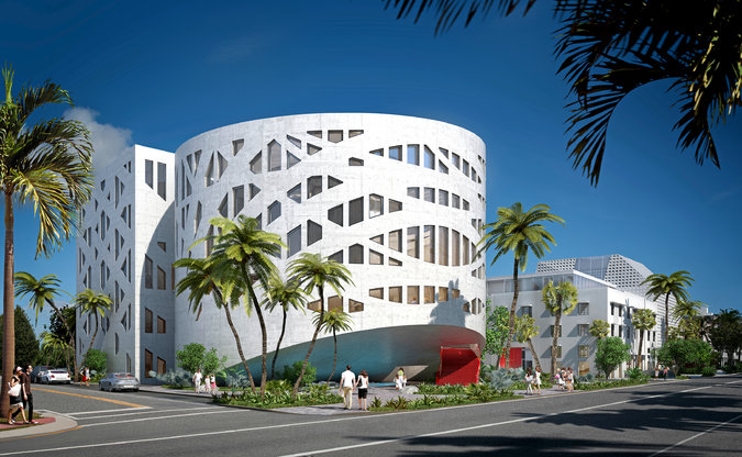 rendering of the Faena Forum in Miami Beach, designed by Rem Koolhaas; image via Faena / OMA