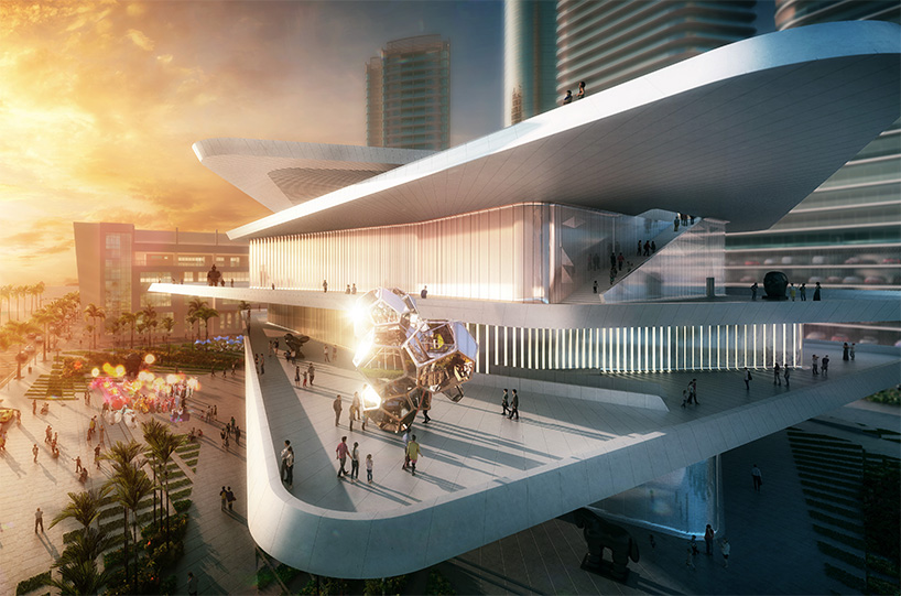rendering of the proposed Latin American Art Museum in Miami, designed by Fernando Romero and fr-ee; image via fr-ee