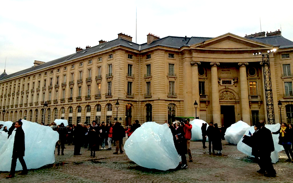 Installation view of Ólafur Elíasson's Ice Watch; photo via University Paris 1 Panthéon-Sorbonne