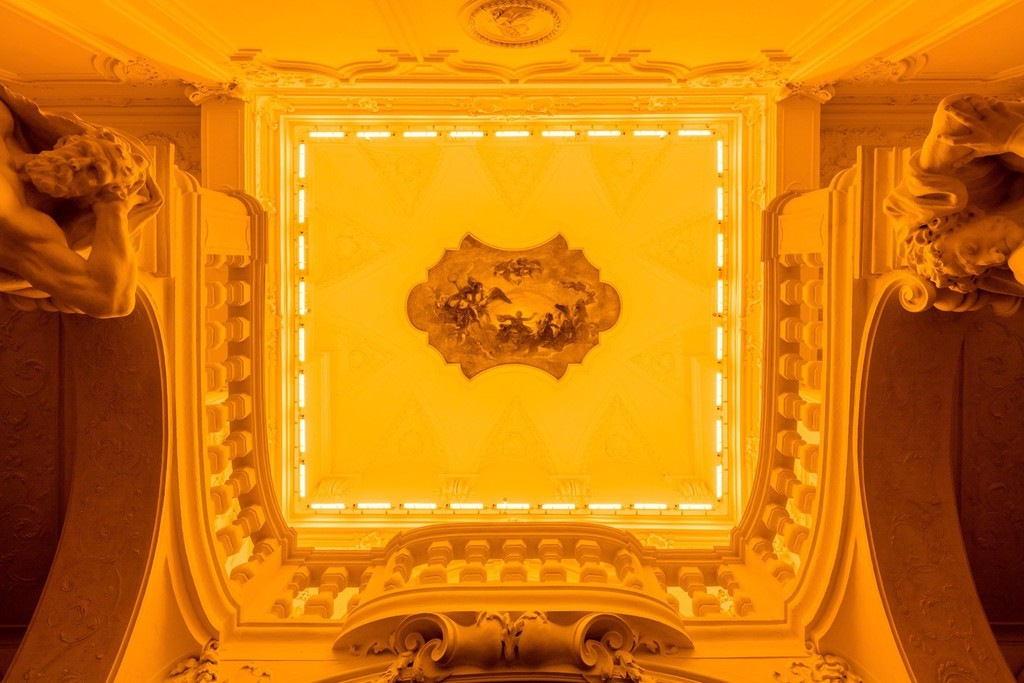 Ólafur Elíasson, Yellow Corridor, 1997; Monofrequency lights, dimensions variable; The Juan & Patricia Vergez Collection, Buenos Aires; Baroque Baroque installation view at the Winter Palace of Prince Eugene of Savoy, Vienna, 2015; image © Ólafur Elíasson