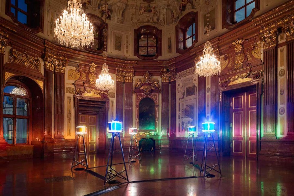 Ólafur Elíasson, Five Orientation Lights, 1999; Stainless steel, colored glass, halogen bulbs, Fresnel lenses, each lamp: 200 x 70 x 70 cm, installation: dimensions variable; The Juan & Patricia Vergez Collection, Buenos Aires; Baroque Baroque installation view at the Winter Palace of Prince Eugene of Savoy, Vienna, 2015; image © Ólafur Elíasson