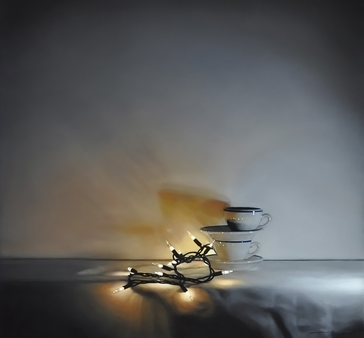 Tom Betts, Embers and Cups, 2015; oil on panel, 12 x 12 inches; image © Tom Betts