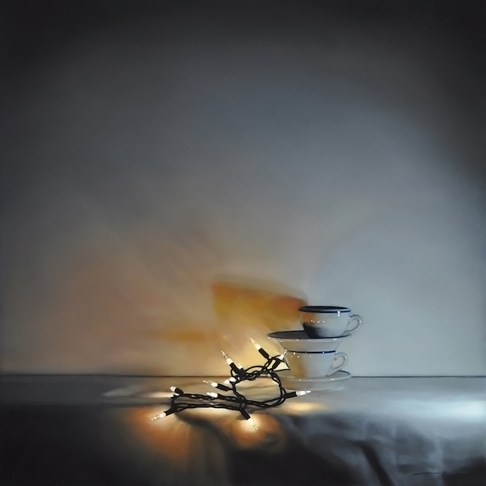 Tom Betts, Embers and Cups, 2015; oil on panel, 12 x 12 inches; © Tom Betts