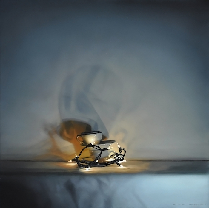 Tom Betts, Hearth Light and Cups, 2015; oil on panel, 12 x 12 inches; © Tom Betts