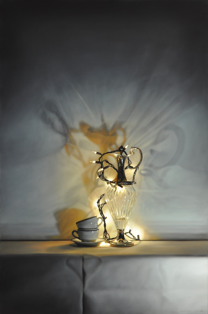 Tom Betts, Lamplight and Cups, 2016; oil on panel, 36 x 24 inches; © Tom Betts