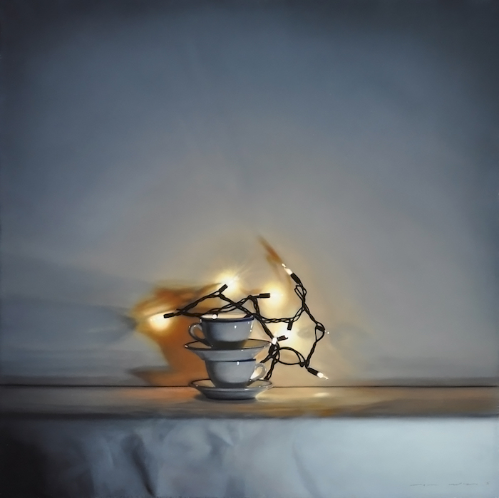 Tom Betts, Spark and Cups, 2015; oil on panel, 12 x 12 inches; © Tom Betts