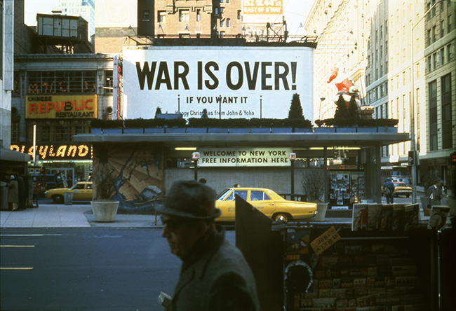 Yoko Ono and John Lennon, WAR IS OVER! (IF YOU WANT IT), 1969; installation view in Times Square, New York; photo © Yoko Ono