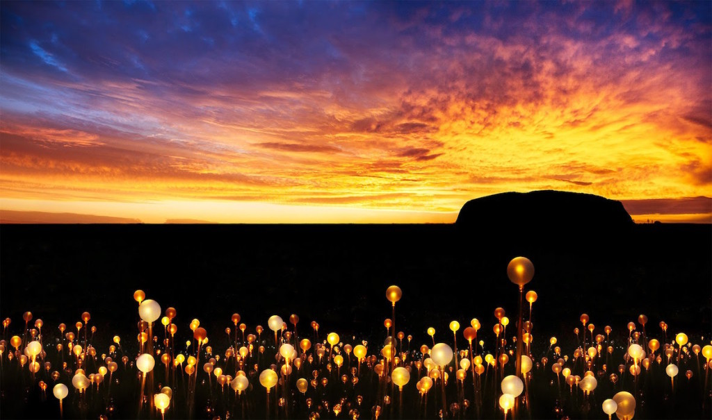 Bruce Munro, Field of Light, Uluru, 2016; photo by Mark Pickthall