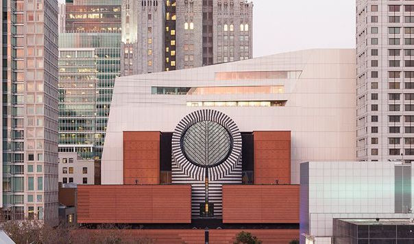 Exterior view of SFMOMA, Botta and Snøhetta buildings; image courtesy of San Francisco Travel Association / SFMOMA