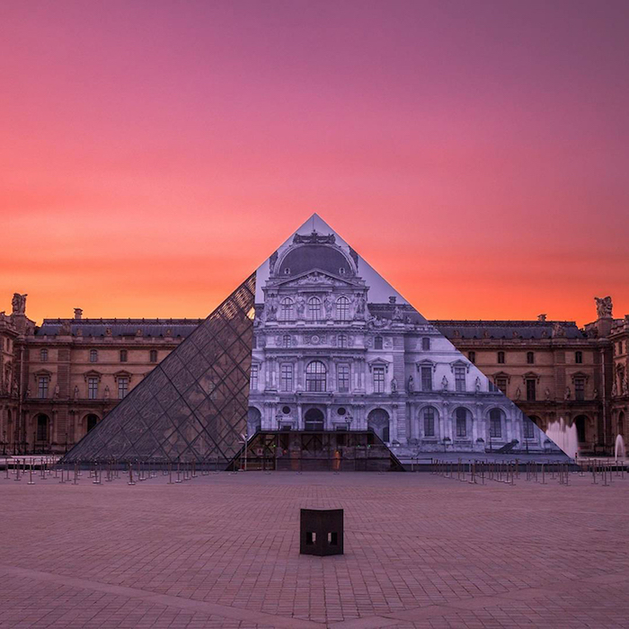 JR au Louvre; image by David Emeran via Instagram