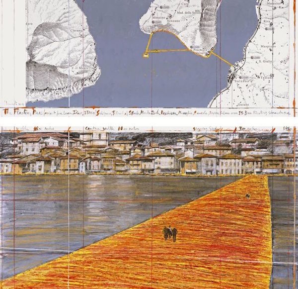 Christo, The Floating Piers (Project for Lake Iseo, Italy), collage in two parts, 2014; 12 x 30 1/2 inches and 26 1/4 x 30 1/2 inches; pencil, charcoal, pastel, wax crayon, fabric, enamel paint, cut-out photographs by Wolfgang Volz, and map; photo by André Grossmann, © 2014 Christo; Ref. AUR # 5-2014