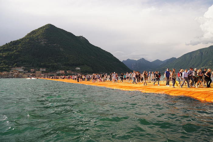 Christo and Jeanne-Claude, The Floating Piers, Lake Iseo, Italy, 2016; photo by Wolfgang Volz, © 2016 Christo