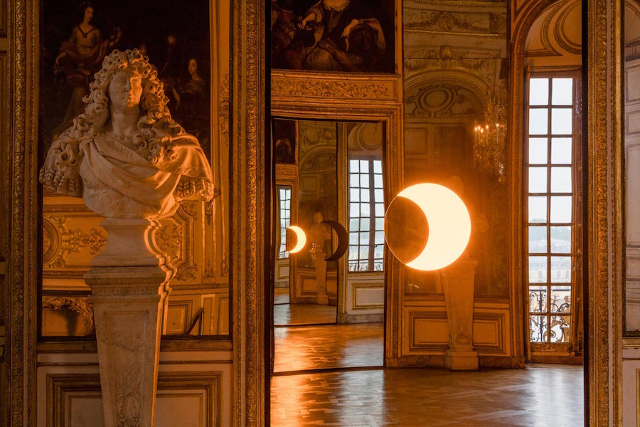 Ólafur Elíasson, Deep Mirror (Yellow) and Deep Mirror (Black), 2016; installation view at the Château de Versailles; photo by Anders Sune Berg, © Ólafur Elíasson